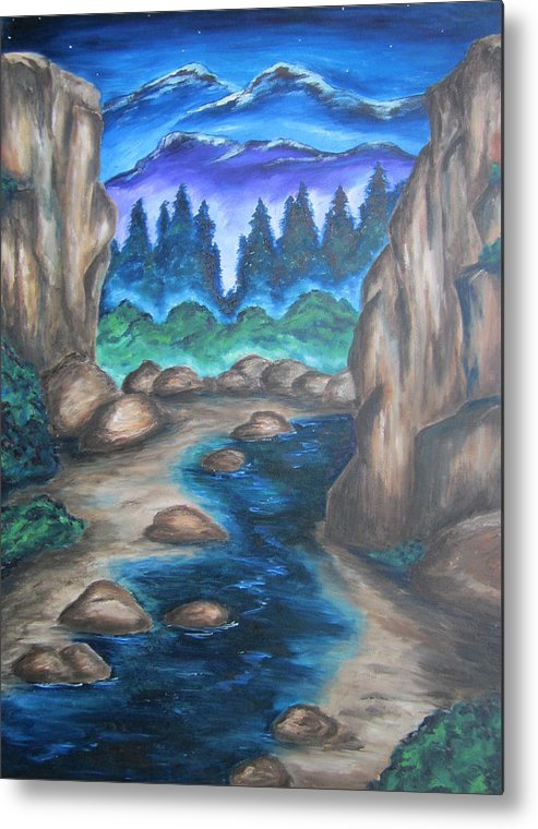 Mountains Metal Print featuring the painting Cool Mountain Water by Cheryl Pettigrew