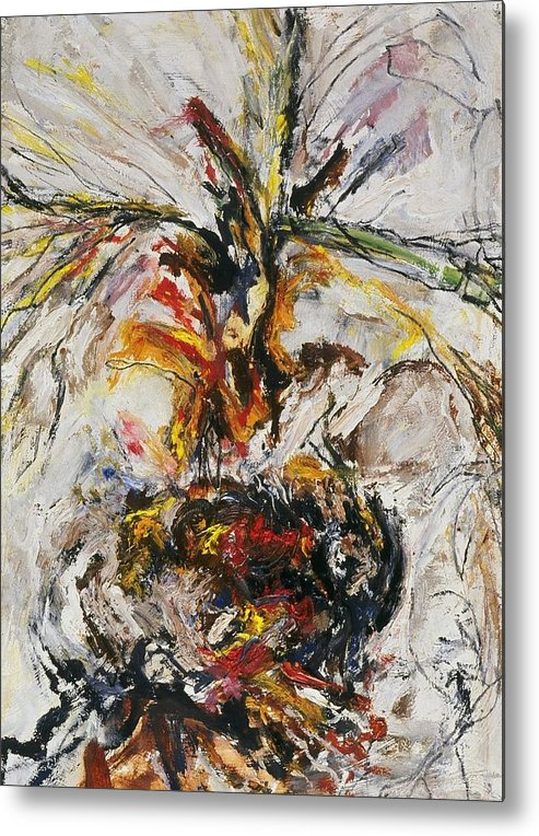 Fine Art Metal Print featuring the painting Explosion Two by Iris Gill