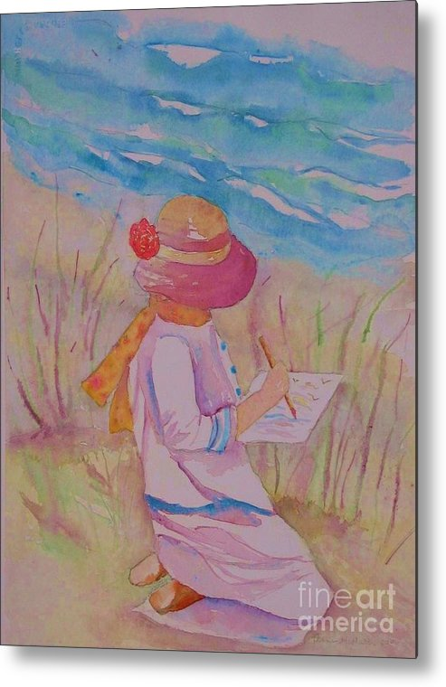 Artist Metal Print featuring the painting Girl Artsit By The Sea by Anne McMath