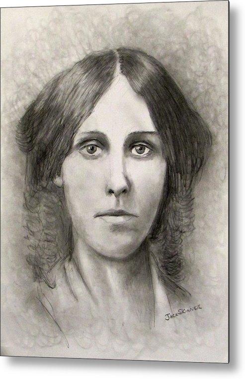 Louisa May Alcott Metal Print featuring the drawing Louisa May Alcott by Jack Skinner