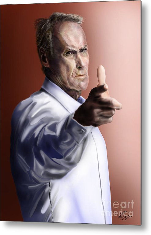 Dirty Harry Metal Print featuring the painting Men Must Know Their Limitations-clint Eastwood by Reggie Duffie