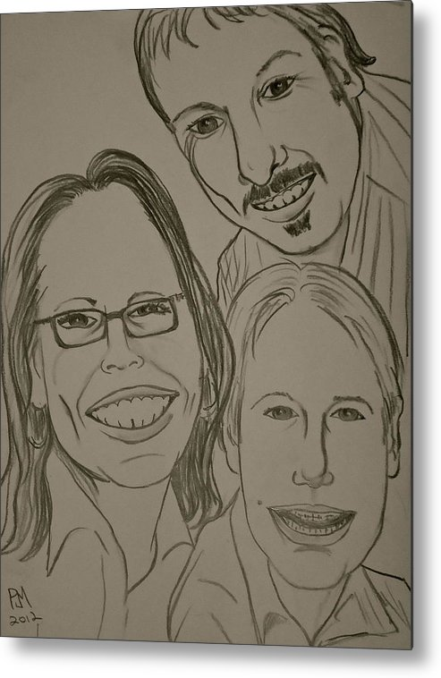 Family Metal Print featuring the drawing Mi Familia by Pete Maier