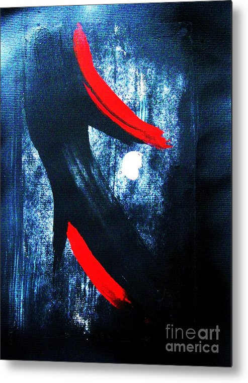 Abstract Metal Print featuring the painting Midnight And Moonlight by Roberto Prusso