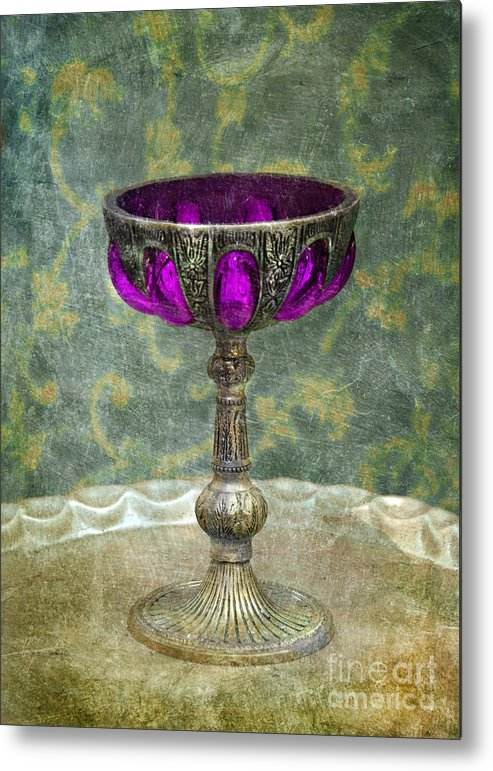 Goblet Metal Print featuring the photograph Silver Chalice With Jewels by Jill Battaglia