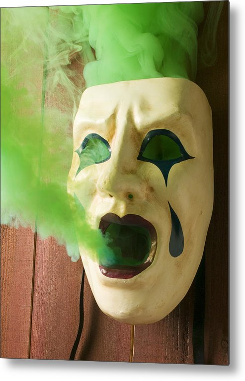 Mask Metal Print featuring the photograph Theater Mask Spewing Green Smoke by Garry Gay
