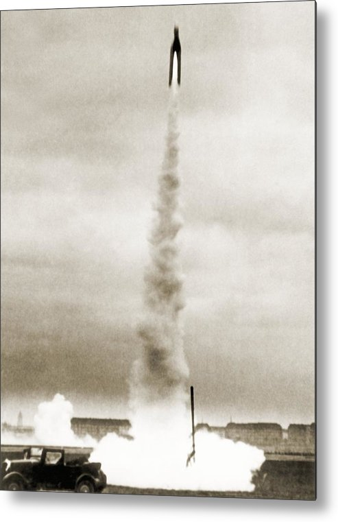 Rocket Metal Print featuring the photograph Tiling Rocket Launch, 1930s by Detlev Van Ravenswaay