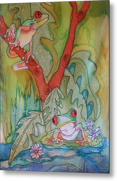 Metal Print featuring the tapestry - textile Tree Frogs by Yvonne Feavearyear