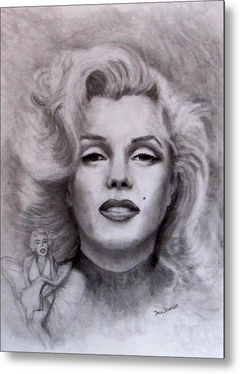 Marilyn Metal Print featuring the drawing Marilyn by Jack Skinner