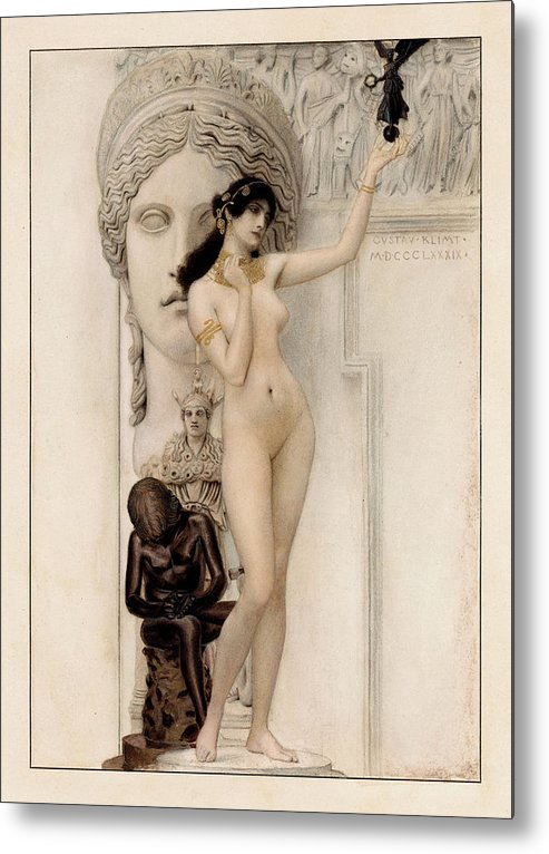 Gustav Klimt Metal Print featuring the painting Allegory Of Sculpture by Gustav Klimt