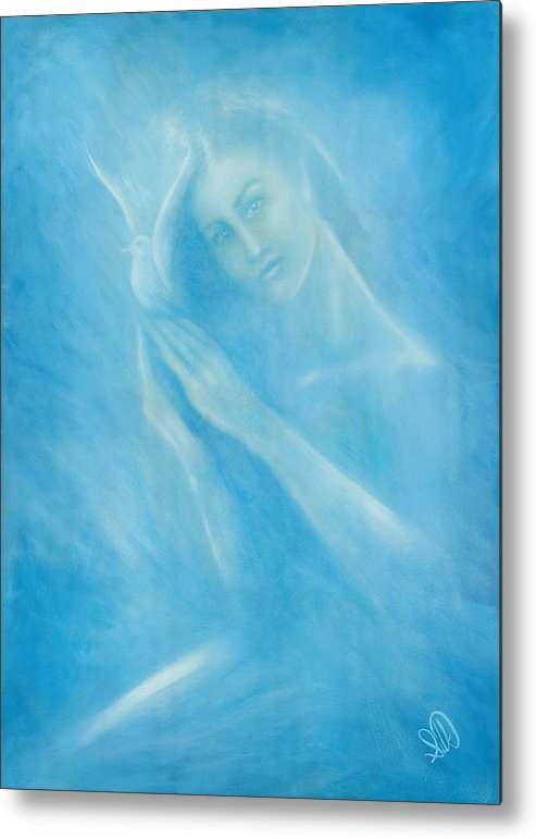 Love Metal Print featuring the painting Angel With Dove by Elizabeth Silk