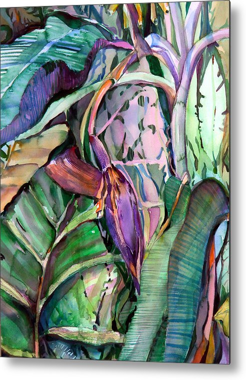 Banana Metal Print featuring the painting Banana Pod by Mindy Newman