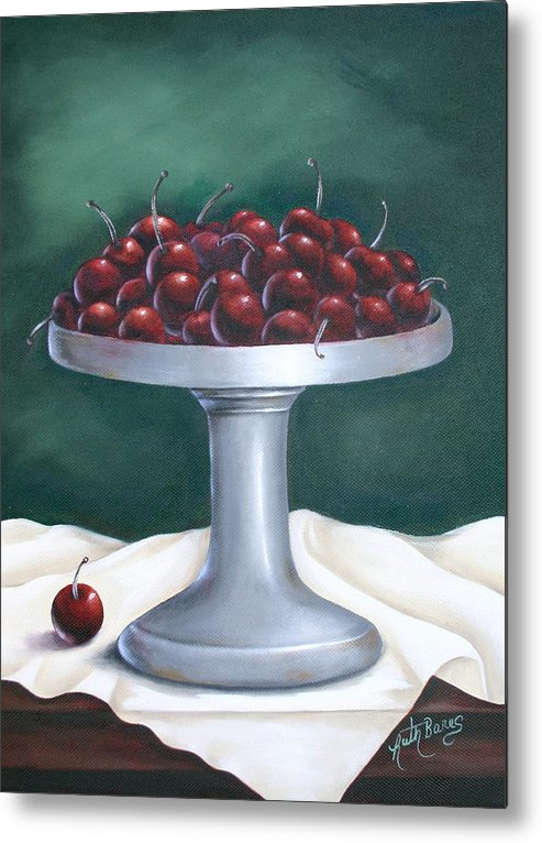 Cherries Metal Print featuring the painting Cherries by Ruth Bares