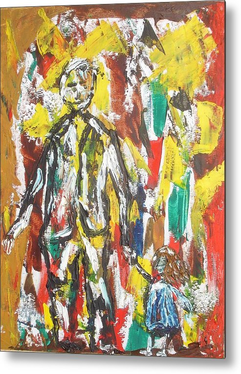 Act Metal Print featuring the painting Father And Daughter by Roger Cummiskey