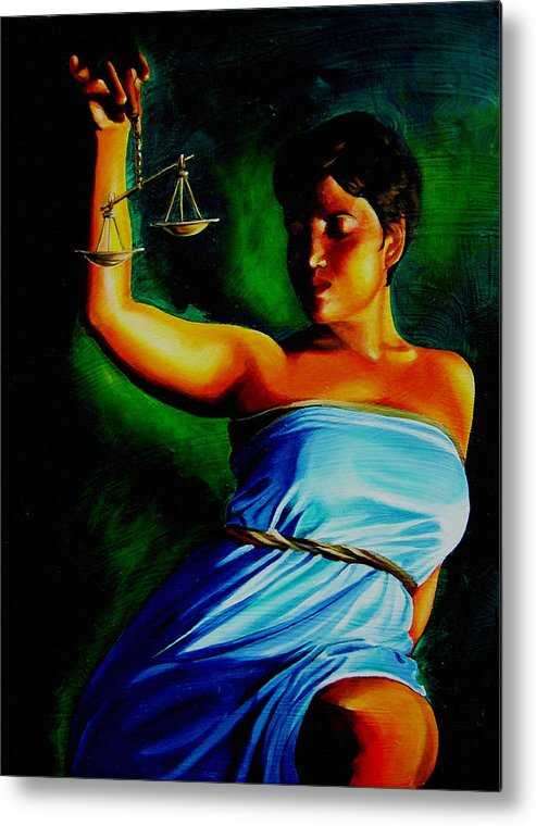 Law Art Metal Print featuring the painting Lady Justice by Laura Pierre-Louis