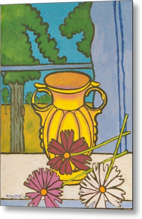 Mccoy Metal Print featuring the painting Mccoy Vase With Cosmos by Nicholas Martori