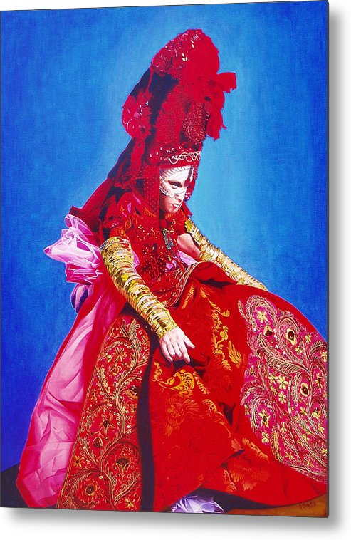 Renaissance Dress Metal Print featuring the painting Red Dress Too by Vlasta Smola