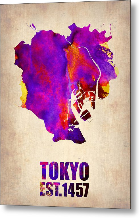 Tokyo Metal Print featuring the painting Tokyo Watercolor Map 2 by Naxart Studio