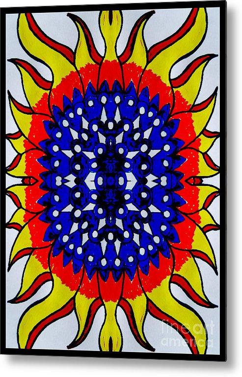 Metal Print featuring the digital art Sunburst Flower by Graham Roberts