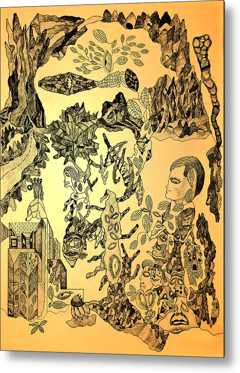 Dreams Metal Print featuring the drawing Ancient Dreams by Eric Devan