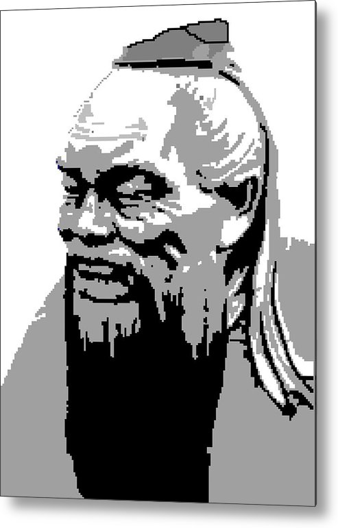 Metal Print featuring the digital art Confucius - Portrait By Asbjorn Lonvig by Asbjorn Lonvig
