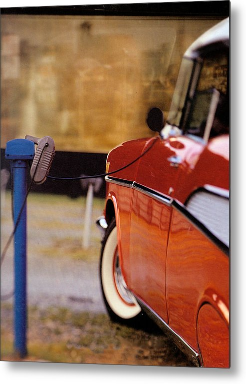 57 Metal Print featuring the photograph 57 Chevy At The Drive-in by Robert Ponzoni