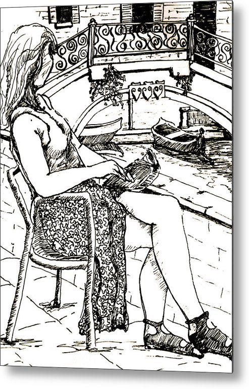 Venice Artwork Metal Print featuring the drawing A Book In Venice by Dan Earle