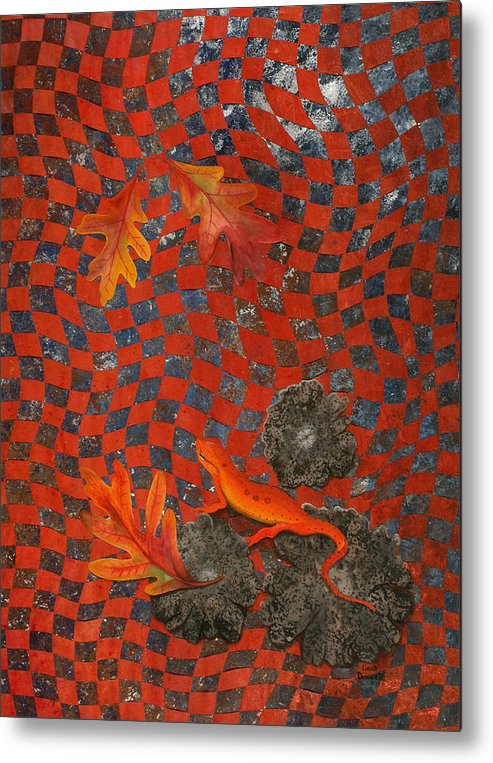 Oak Leave Metal Print featuring the painting A Newt Day by Linda L Doucette