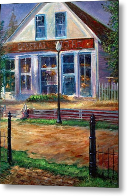 General Store Metal Print featuring the painting A Simpler Time by Tommy Winn