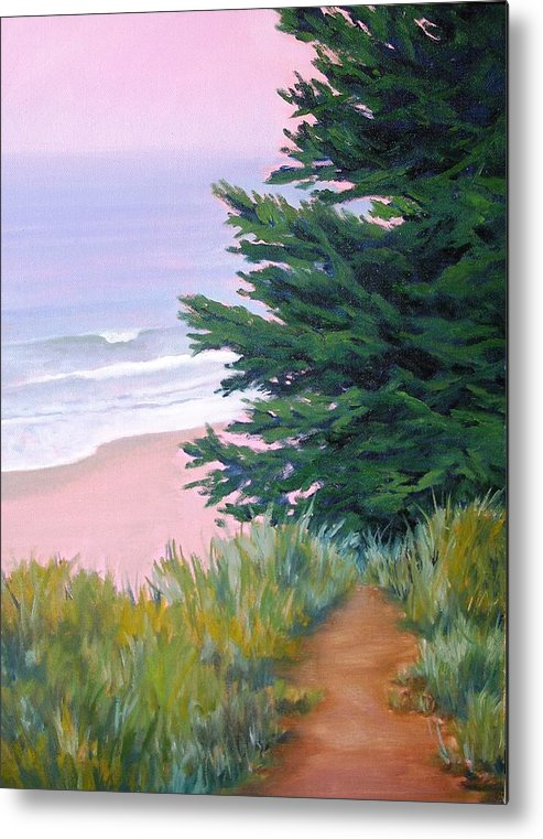 Ocean Metal Print featuring the painting Above The Beach El Capitan by Dorothy Nalls