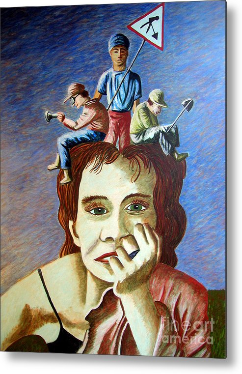 Identity (symbolic Art) Metal Print featuring the painting Am I My Thoughts by Tanni Koens