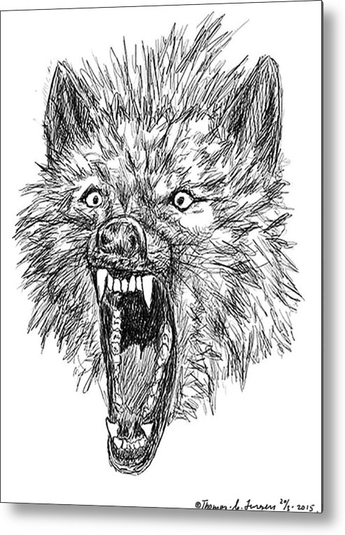 f34830fd7 Sketch Metal Print featuring the digital art Angry Wolf by ThomasE Jensen