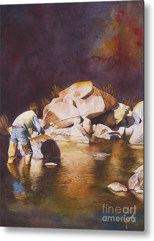 Fly Fisherman Metal Print featuring the painting Anticipation by Jany Schindler