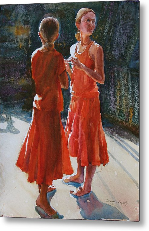 Figures Metal Print featuring the painting Are They Twins by Carolyn Epperly