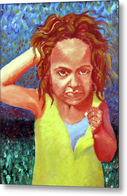 Portrait Metal Print featuring the painting Attitudinal by Alima Newton