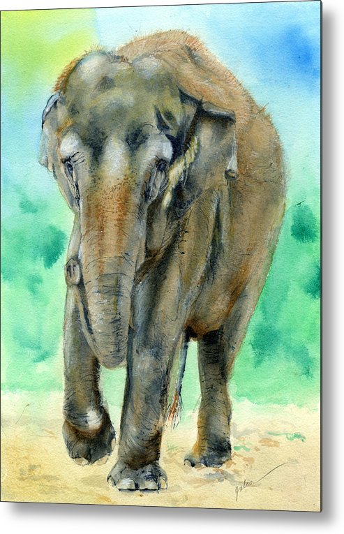 Elephant Metal Print featuring the painting Bamboo by Galen Hazelhofer