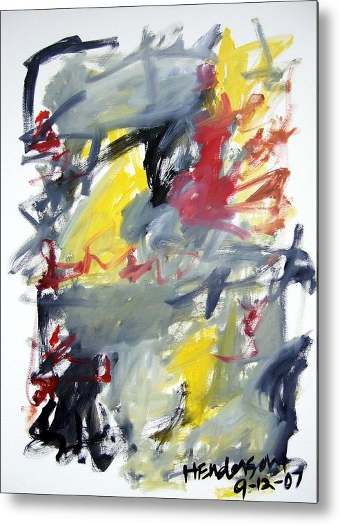 Abstract Metal Print featuring the painting Black And Yellow Abstract by Michael Henderson