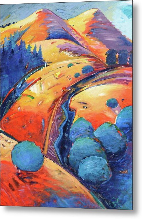 Hills Metal Print featuring the painting Blue And Gold by Gary Coleman