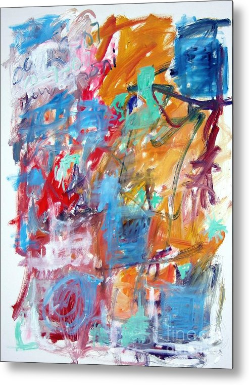 Abstract Metal Print featuring the painting Blue And Orange Abstract by Michael Henderson