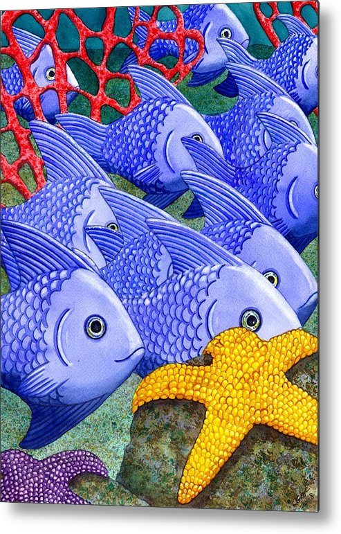 Fish Metal Print featuring the painting Blue Fish by Catherine G McElroy