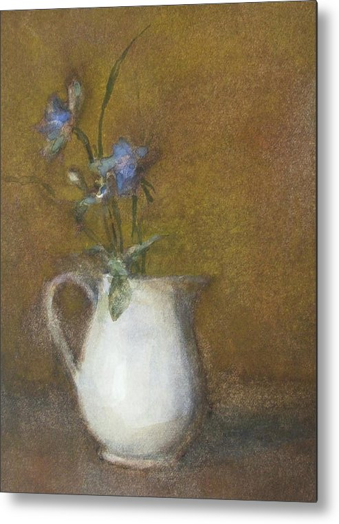 Floral Still Life Metal Print featuring the painting Blue Flower by Joan DaGradi
