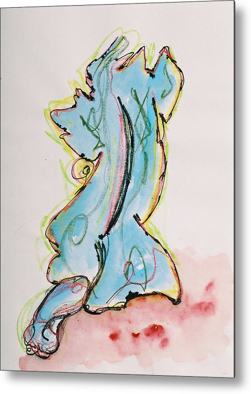 Drawing Metal Print featuring the drawing Blue by Oudi Arroni
