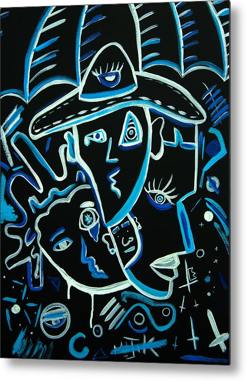 Blue Tones Metal Print featuring the painting Blues Face by Kenal Louis