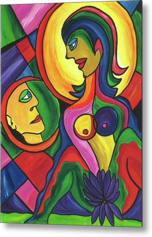 Abstract Paintings Metal Print featuring the painting Bookgirl by Dawn Siler