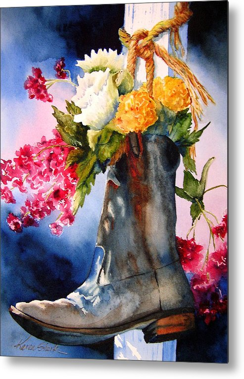Cowboy Metal Print featuring the painting Boot Bouquet by Karen Stark