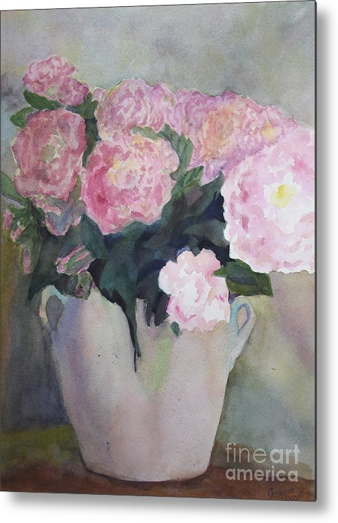 Flowers Metal Print featuring the painting Bouquet Of Pink Peonies by Jeneane Mixon
