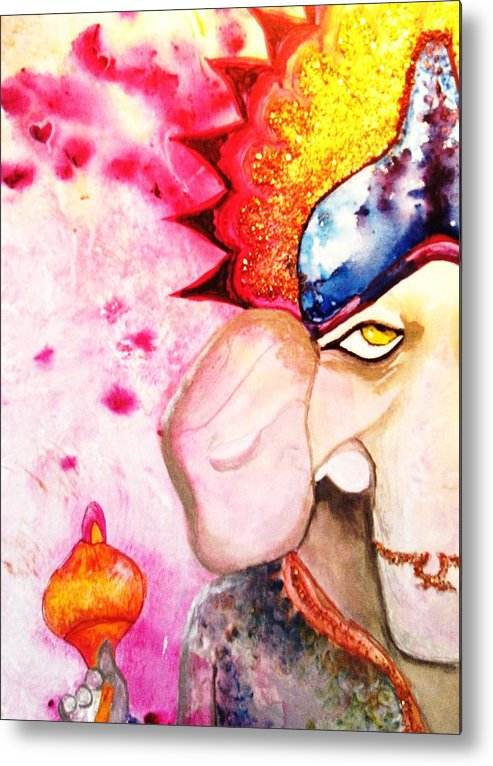 Elephant Metal Print featuring the painting Brilliant Ganesh by Meshal Hardie
