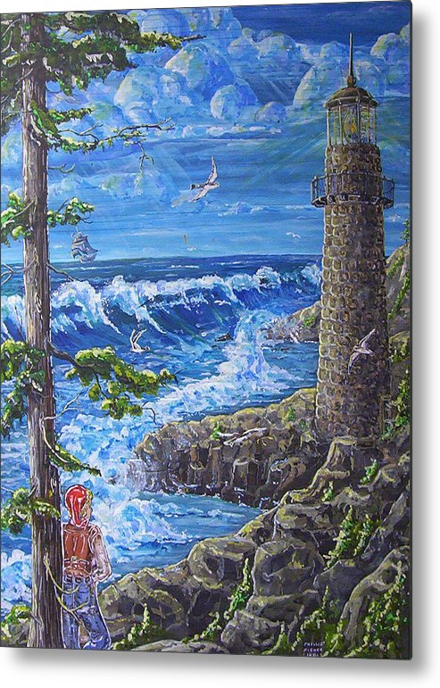 Seascape Metal Print featuring the painting By The Sea by Phyllis Mae Richardson Fisher