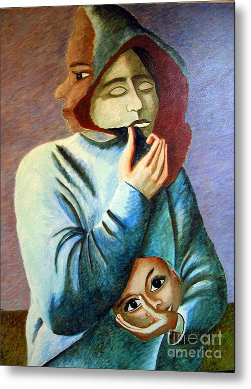 Identity (symbolic Art) Metal Print featuring the painting Can I Hide My Identity Can I Play A Role by Tanni Koens