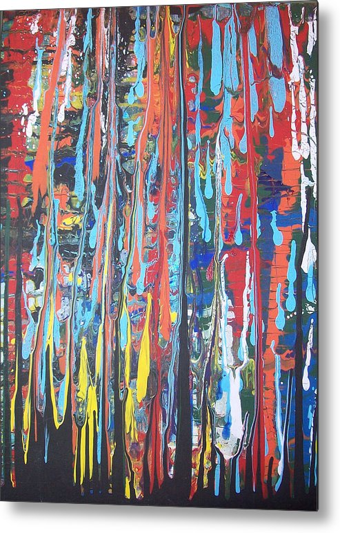 Abstract Metal Print featuring the painting Cascade by Hollie Leffel
