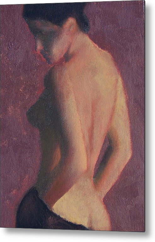 Nude Metal Print featuring the painting Castle Firelight by Bill Brauker